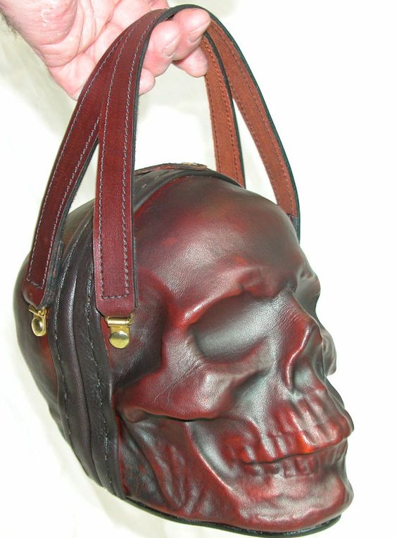 Wnat want want..  Leather Skull Purse Clutch in OxBlood by GriffinLeather on Etsy, $350.00