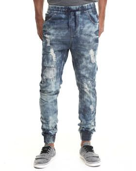 Buyers Picks Men Ripped Detail Jogger Denim Jeans Indigo 44X32