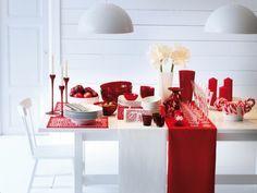weihnachtliche Tischdeko - Läufer in Rot und Weiß