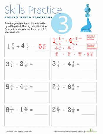 math worksheet : adding mixed fractions with different denominators  fractions  : Adding Mixed Fractions With Different Denominators Worksheets