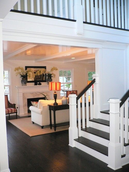 White with dark accent features: Dark Wood Floor, Livingroom, Living Room, Entry Stair, House Idea, Dark Hardwood, White Wall