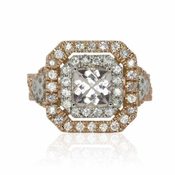 Double Halo Cushion Cut Morganite Engagement Ring — LS3760