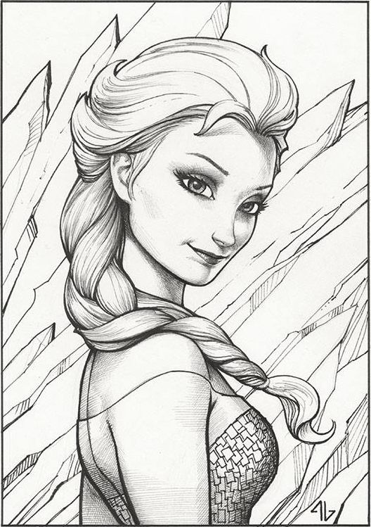 Coloring For Adults Elsa And Frozen On Pinterest