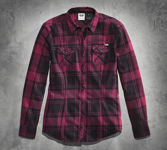 Raspberry black nice and soft women s embellished plaid for Ladies soft flannel shirts