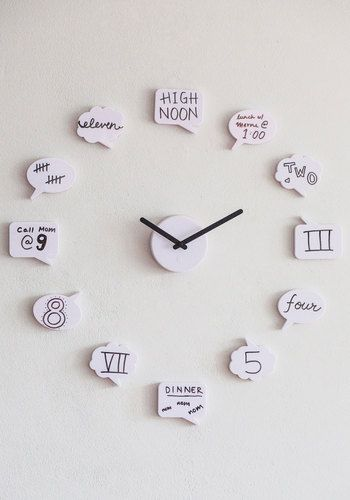 Cute clock! And you could use any symbols and words on the would be relevant to your life! Great idea.: