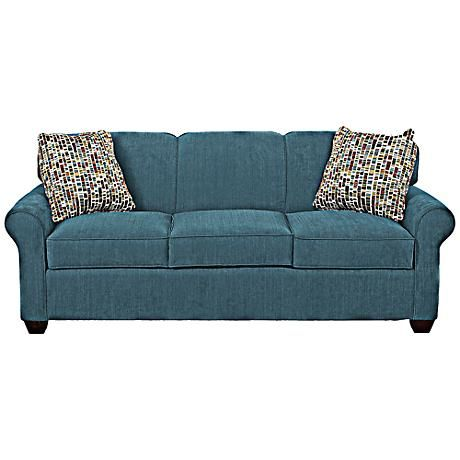 Klaussner Mayhew Teal Upholstered Queen Sleeper Sofa