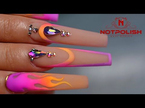 How To Do Flame Nail With Pigments Tutorial I Nails Challenge Design I Long Coffin Shape I Notpolish Youtube In 2020 Pretty Acrylic Nails Nails My Nails