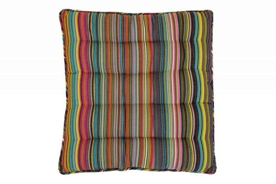 Striped Seat Pads with Piping | Square Piped Seat Pads thin rainbow multi stripes