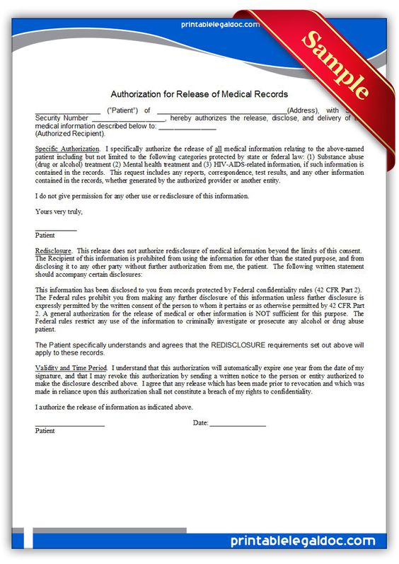Free Printable Authorization For Release Of Medical Records Legal - free medical form templates