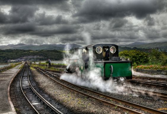 Steam train at Porthmadog,  Wells, UK.