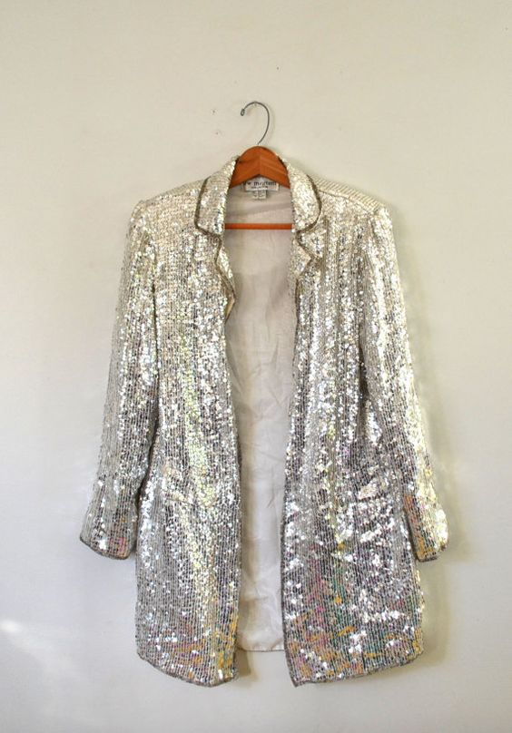 Vintage 80s Sequin Jacket Silver Sequin Jacket Cocktail Long ...