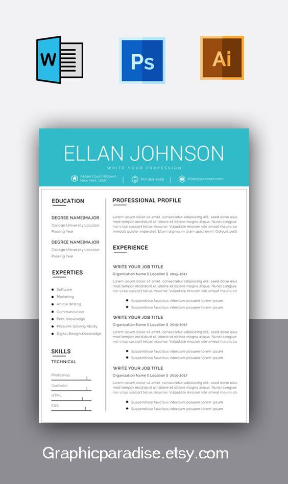 Modern Resume Template Creative Cv For Word Elegant Design Cover Letter Marketing Des Resume Design Template Resume Template Creative Resume Templates