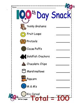 This Fun Download Is For A 100th Day Trail Mix Recipe And