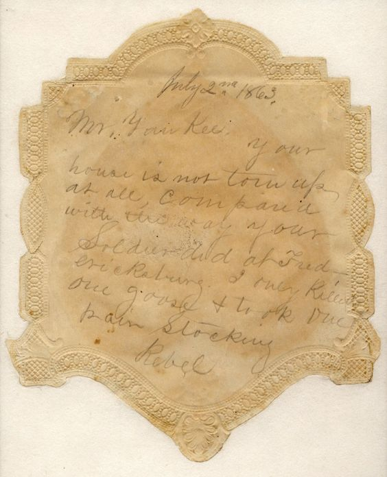 Back of Valentine found in a home in Gettysburg after armies left.