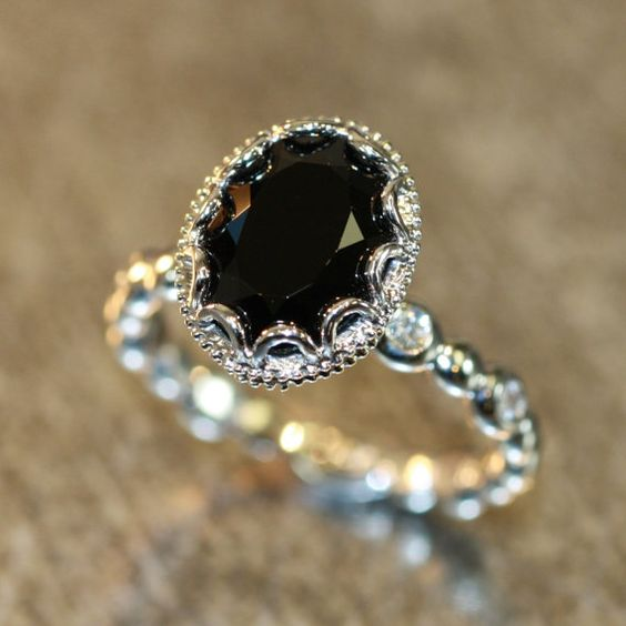 Hey, I found this really awesome Etsy listing at https://www.etsy.com/listing/227963572/floral-diamond-black-spinel-engagement: