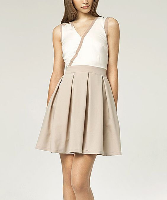 Look what I found on #zulily! Beige & Ecru Surplice Fit & Flare Dress by NIFE #zulilyfinds