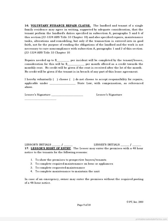 Printable Sample Standard Lease Agreement Form | Legal Forms