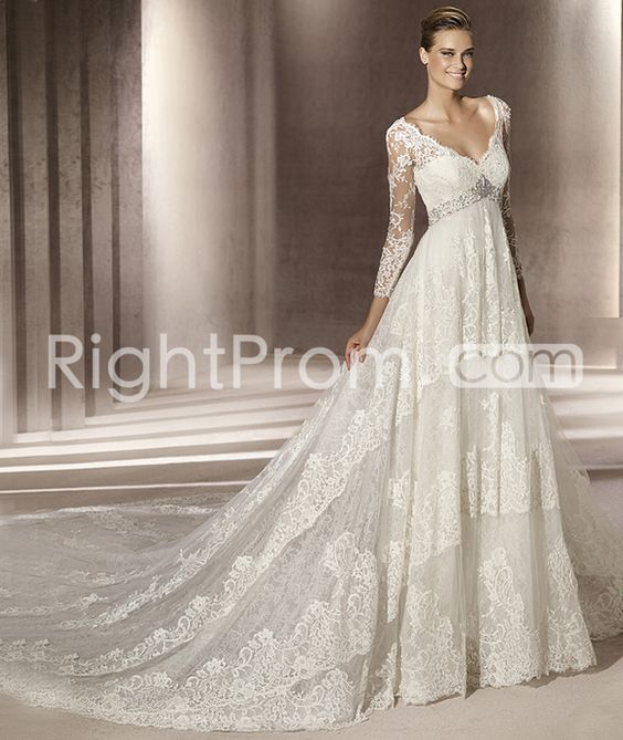 Fantastic Empire 3/4-Length Sleeve V-neck Lace  Wedding Dresses 2014 Spring Trends