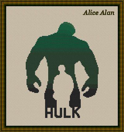 Hulk silhouette superhero Marvel ComicsTV series by HallStitch