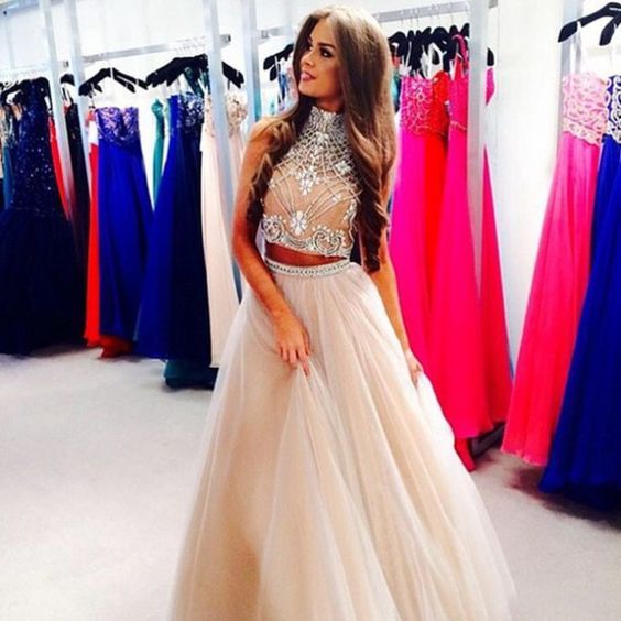 Custom Made Light Champagne 2 Piece - Long prom dresses- Sherri ...
