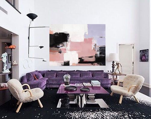 Huge Large Abstract Oil Painting Oversize Painting Pink Etsy In 2020 Living Room Color Schemes Living Room Paint Living Room Color