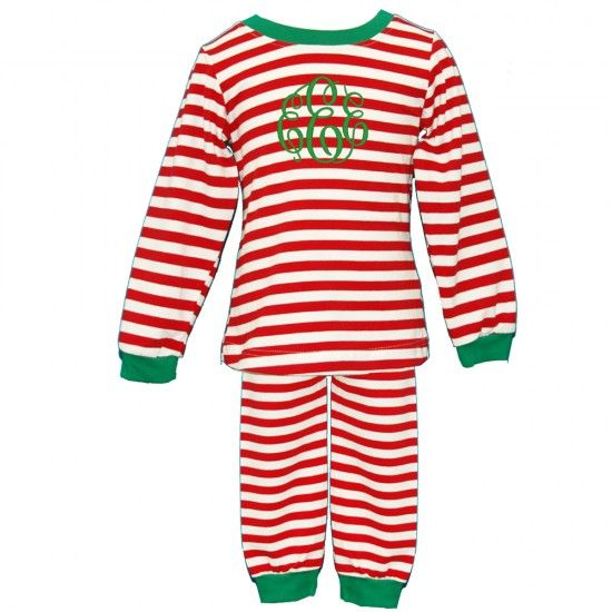 Monogrammed Red Stripe Loungewear for Girls and Boys By Born To Be Sassy