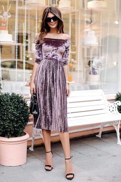 Off Shoulder Velvet Pleated Midi Dress
