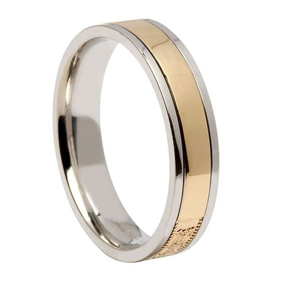 Celtic Warrior Narrow Silver Band with Yellow Gold Center - Rings from Ireland