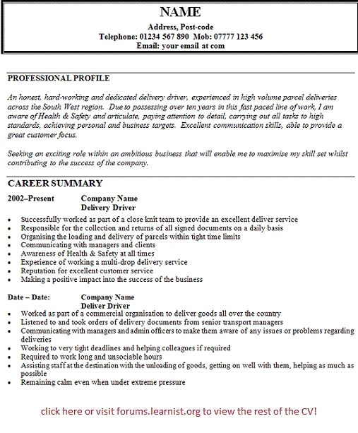 Driver Cv Examples Uk Calepmidnightpigco Cv Template Job Resume Template Cv Examples