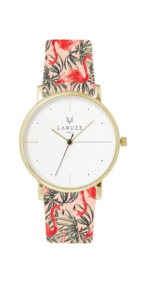 Tissu flamingos flamant rose Made in France Laruze Montres bracelets Interchangeables Mode Imprimés Animalier Or Argent Or rose  Paris Auvergne