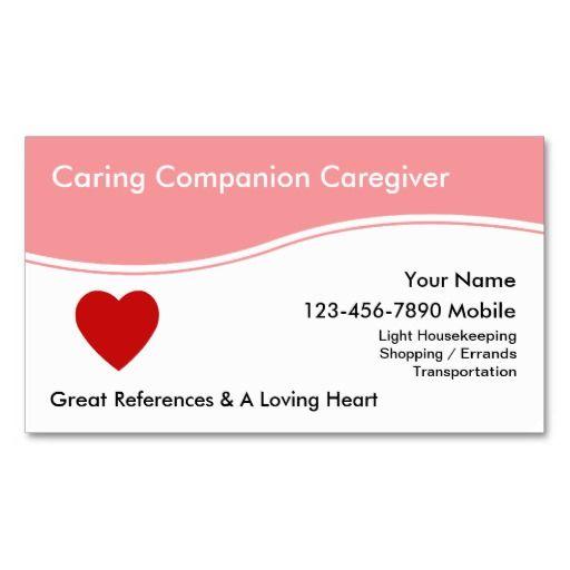 Caregiver Business Cards  Caregiver Business Cards