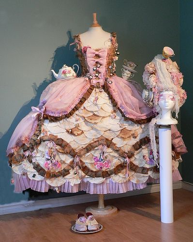 Rococo dress made with tea bags! (A little weird but interesting!)