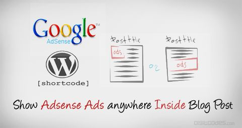 Learn How to Easily Show Adsense Ads anywhere Inside the Blog Post using shortcodes