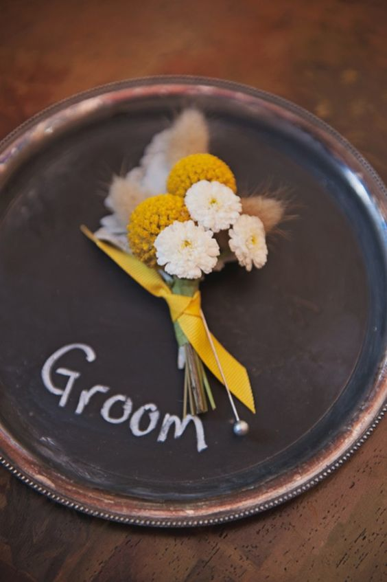 Yellow and White Boutonniere | photography by http://mariamackphotography.com/