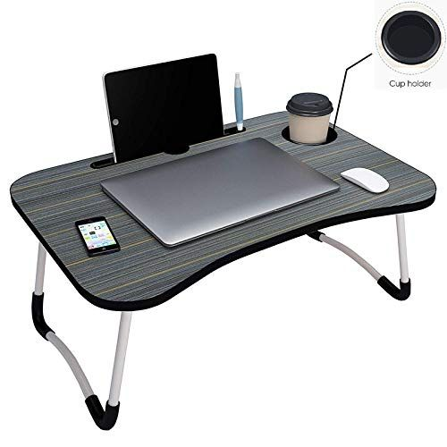Foldable Wooden Laptop Bed Tray Table Multifunction Lap Tablet Desk With Cup Holder Black In 2020 Study Table Bed Tray Table Portable Laptop Table