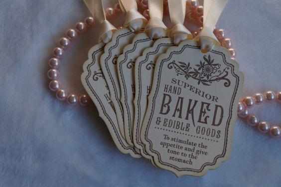 Superior Hand Baked Buffet tags Vintage by AdorableInvites on Etsy