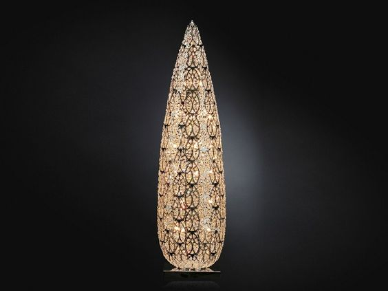 lampada da tavolo in acciaio e vetro big flame arabesque by ... - Larabesque Lampade