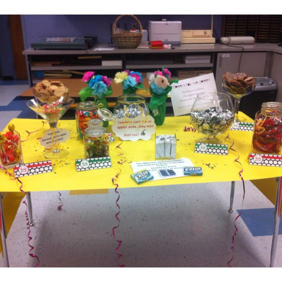 The Candy Bar in the teachers lounge for Teacher Appreciation Week!!