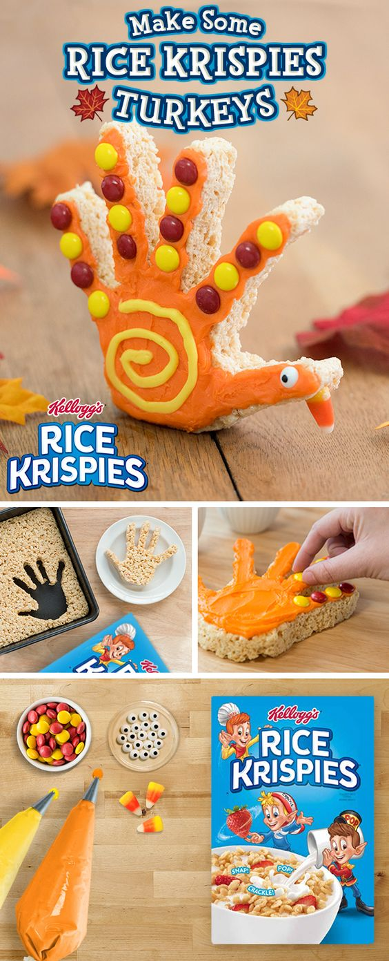 This #Thanksgiving, get a little creative with the #turkey (and take care of dessert at the same time) with these easy to make Rice Krispies Treats! All you need are a few simple ingredients to get your family in the holiday spirit!