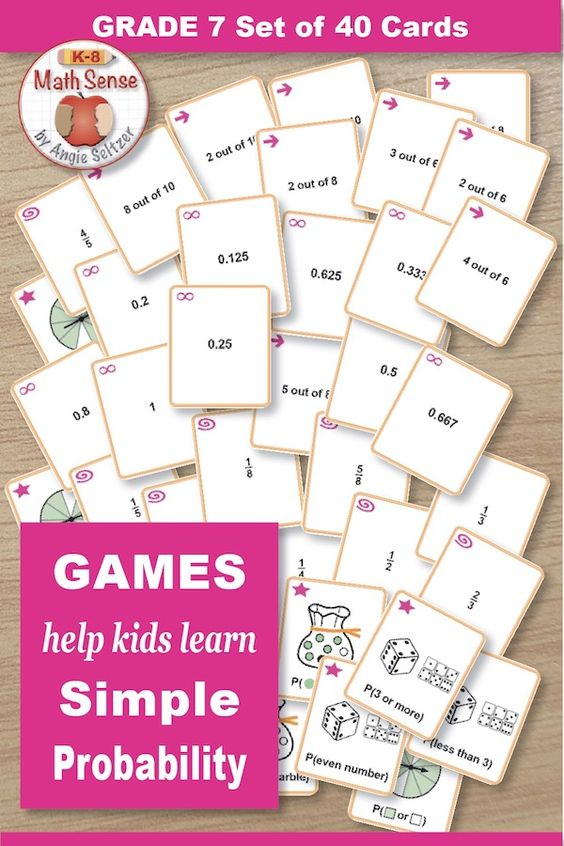 Probability Games Kids Practice Simple Probability By Matching Marble Bags Spinners And Dice To Fractions Math Card Games Probability Games Fraction Games