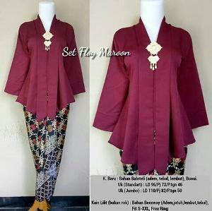 Set Ploy Maroon Batik Fashion Kebaya Modern Dress Model Kebaya