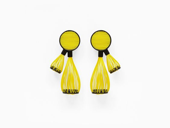 Snem Yildirim Earrings: Yildrim_Snem_Jan_2017_18, 2016 Powder coated brass, re-cycled plastic bottles (nylon wire) Photo by: Snem Yildirim From series: Kanavice Series