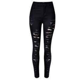 Women's Faded Ripped Washed Cuff Skinny Jeans Black