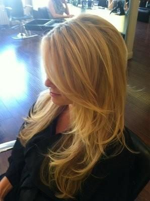 I'm growing out my bangs and this is the goal. Long side-swept layer.