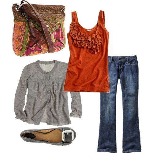 sweet: Orange Grey, Fall Colors, Bag, Fall Outfits, Orange Tops