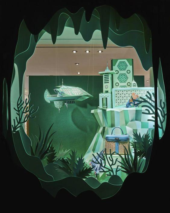 Hermes Atlantis Paper Craft Green Window Display