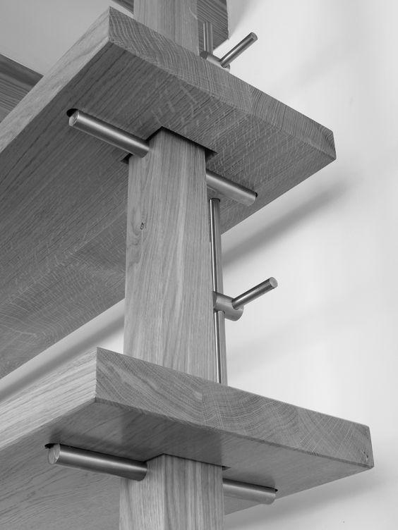 Adjustable height desk, landing ~ shelving system detail
