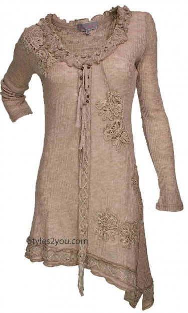 Pretty Angel Clothing Ellis Vintage Tunic In Carmel. Ladies Victorian Tunic at Styles2you.com: