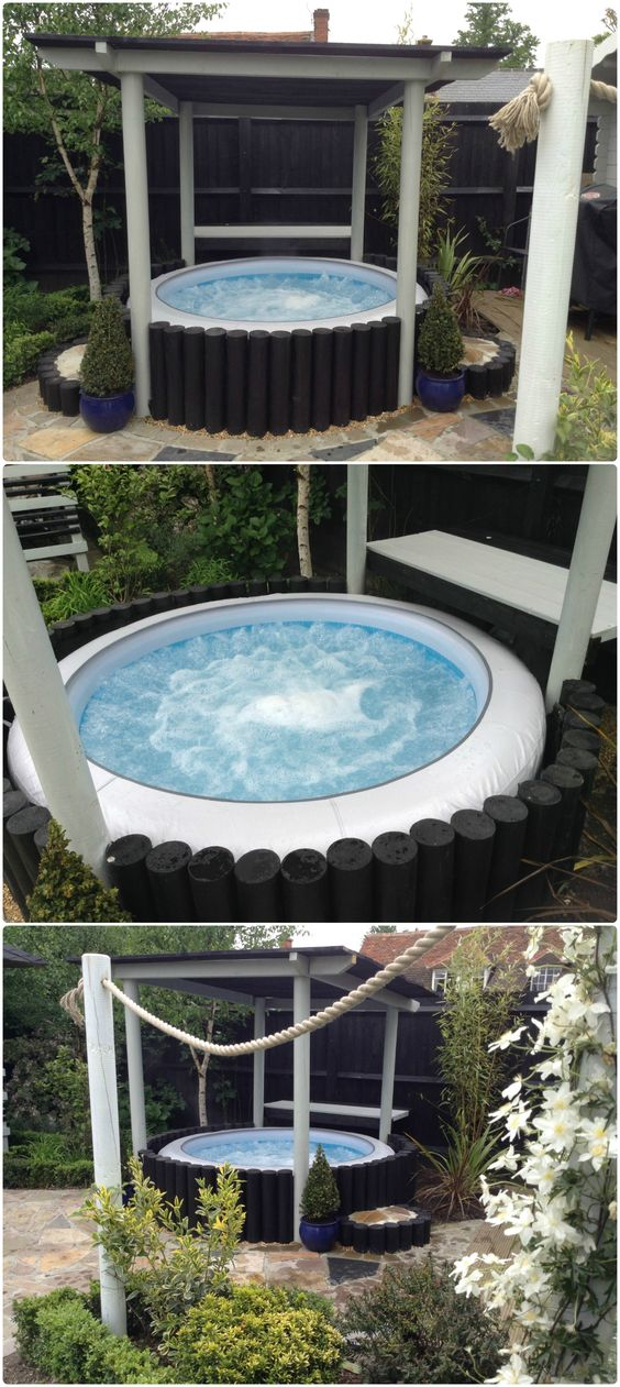 Inflatable hot tub surround idea for lay z spa matthew for Garden tub designs