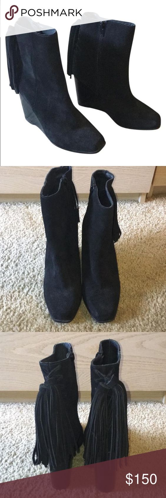 NWT Jeffrey Campbell tassel booties 7.5 NWT. Gorgeous suede ankle booties with these on back by Jeffrey Campbell. Purchased for $210. Jeffrey Campbell Shoes Ankle Boots & Booties